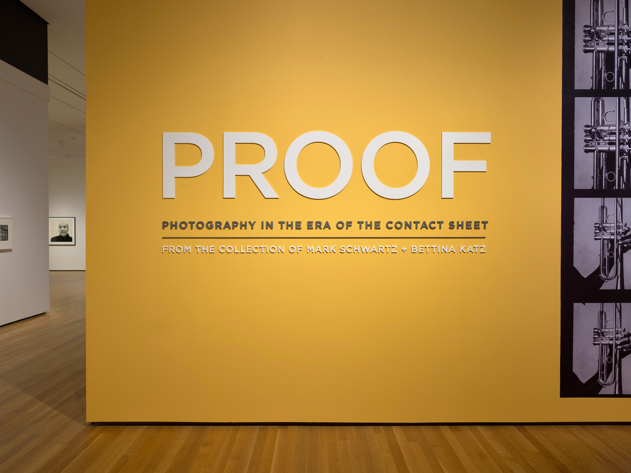 PROOF: Photography in the Era of the Contact Sheet branding at the exhibition entrance at the Cleveland Museum of Art