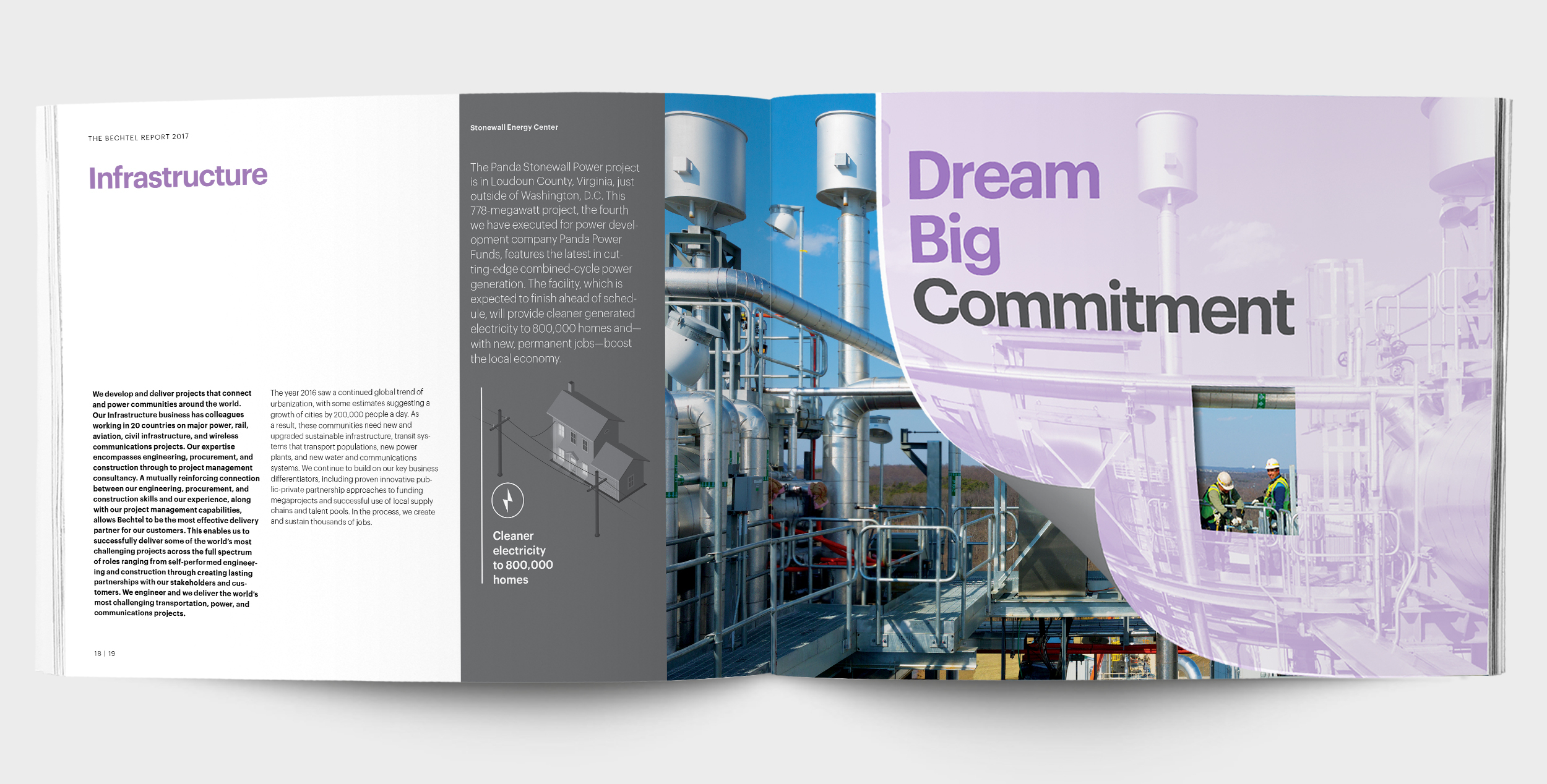 "Open spread from the 2017 ""Dream Big"" Bechtel annual report design, showing a gatefold and die cut image reveal"