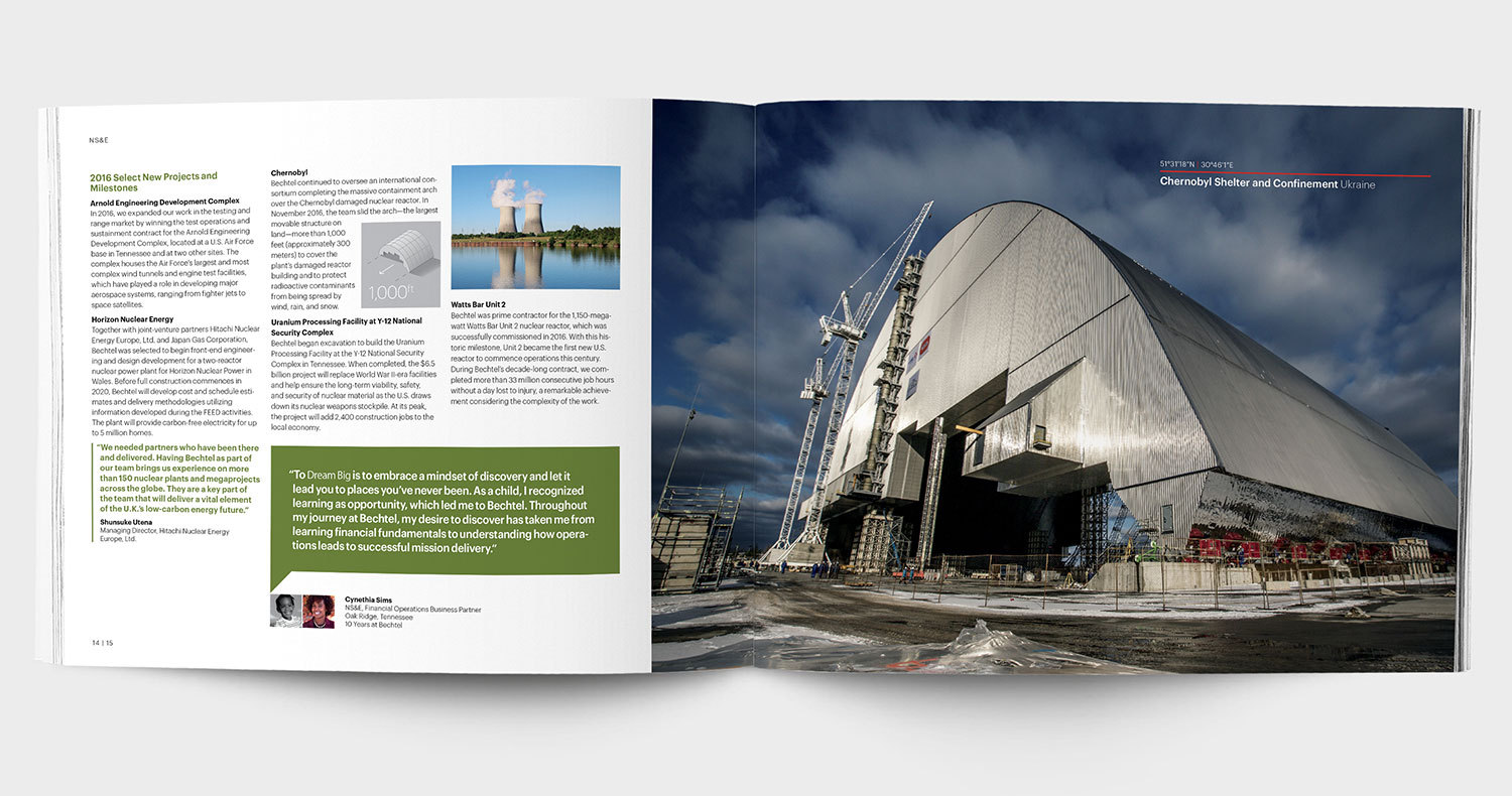 "Open spread from the 2017 Bechtel ""Dream Big"" annual report design, with a large image of Chernobyl and a pull quote"