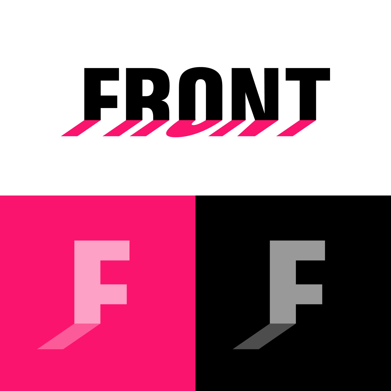 Logo design for FRONT International, shown as a logotype on white background and as a monogram on colored backgrounds