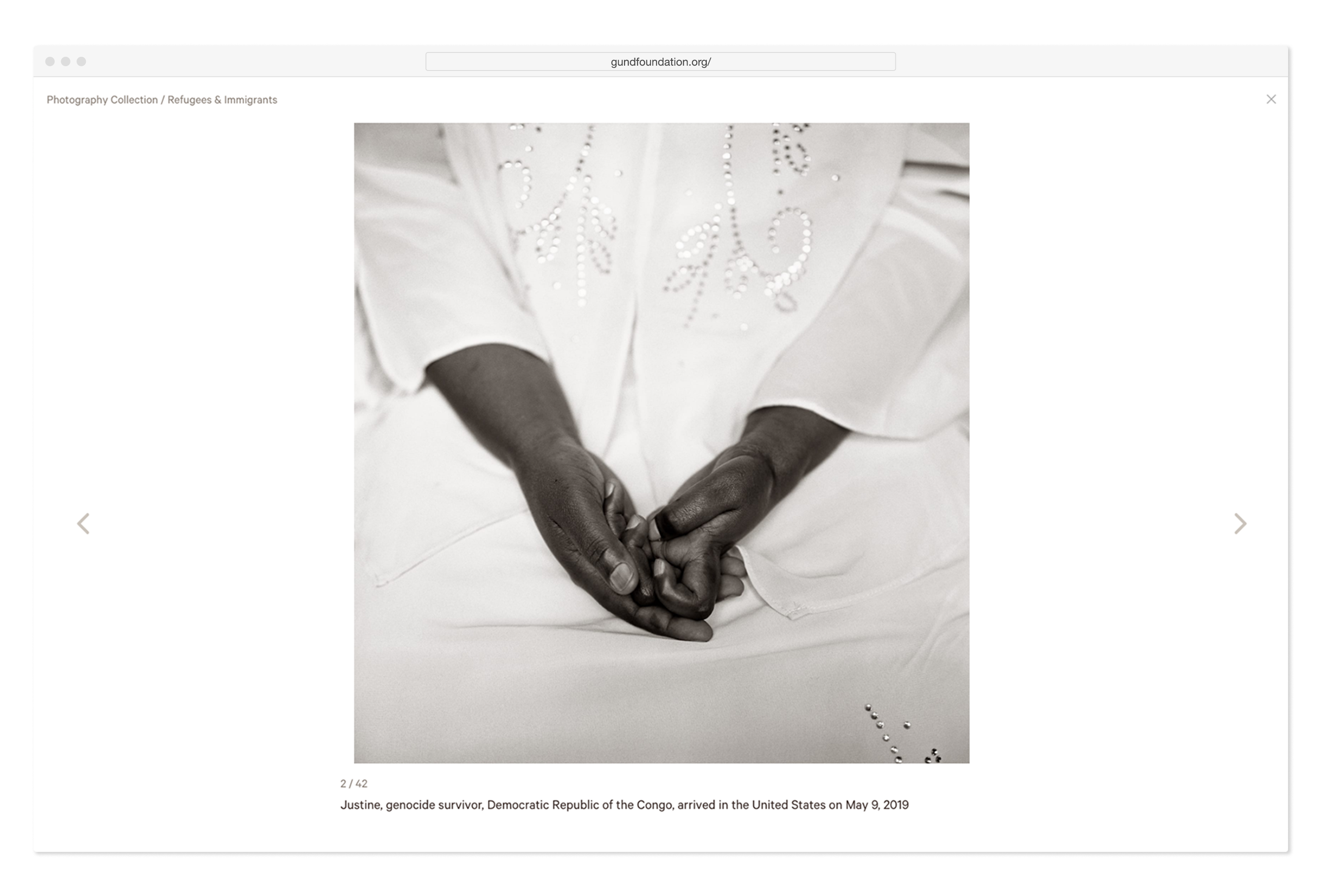 Web browser view of The George Gund Foundation annual web design, featuring hands photographed by Fazel Sheikh