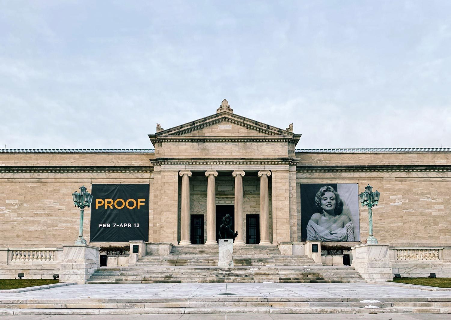 The Cleveland Museum of Art with PROOF branding banners, announcing the exhibition and featuring Marilyn Monroe