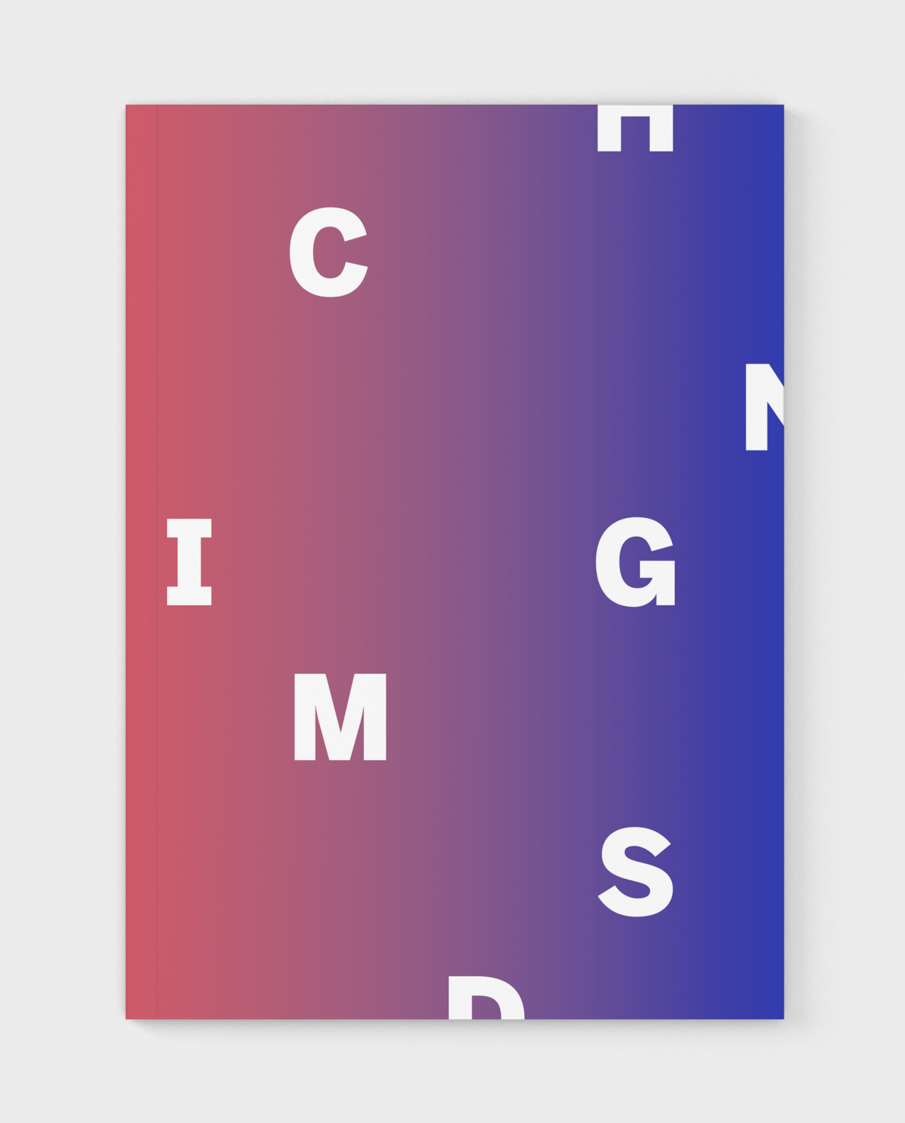 Front cover of the Changing Minds annual report design for The George Gund Foundation, with gradient and abstract typography