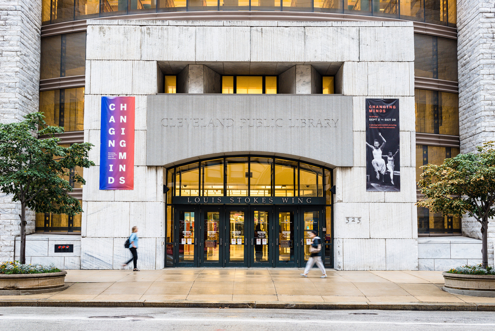 Cleveland Public Library entrance with brand design hanging banners for the Changing Minds exhibition