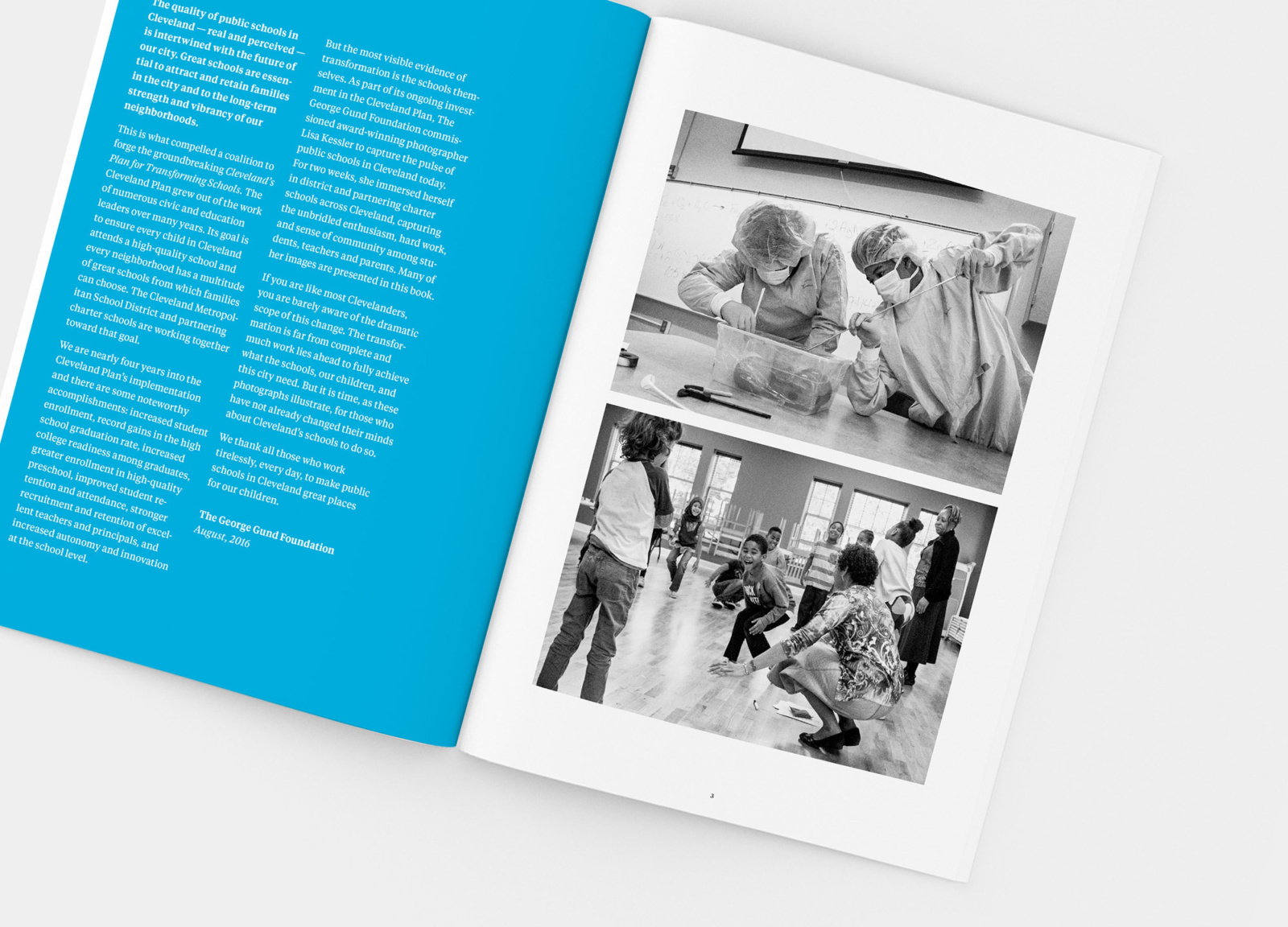 Open spread from Changing Minds annual report design for The George Gund Foundation, with photography by Lisa Kessler