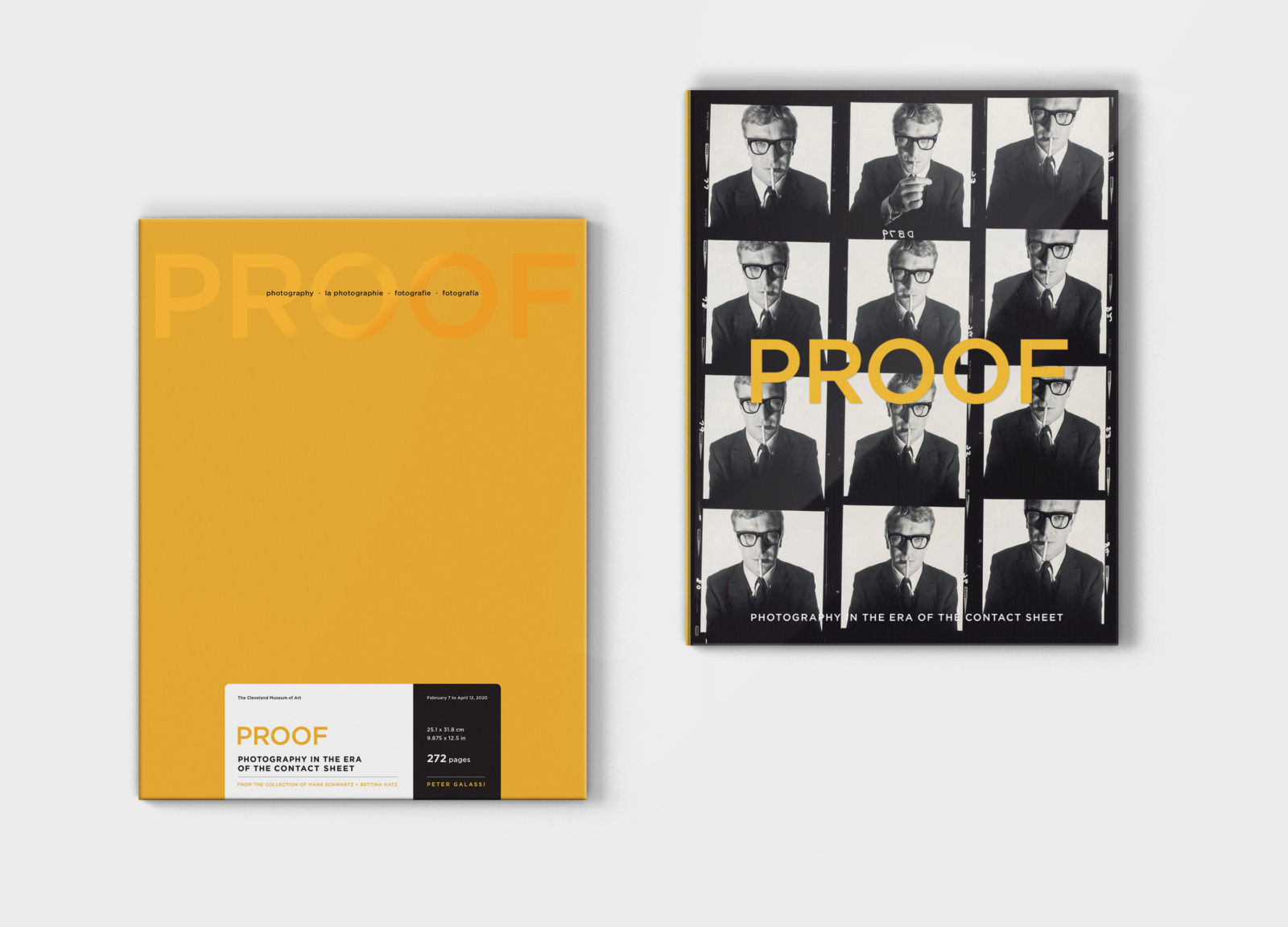 Brand design limited edition box set for PROOF, next to the book design with acetate cover