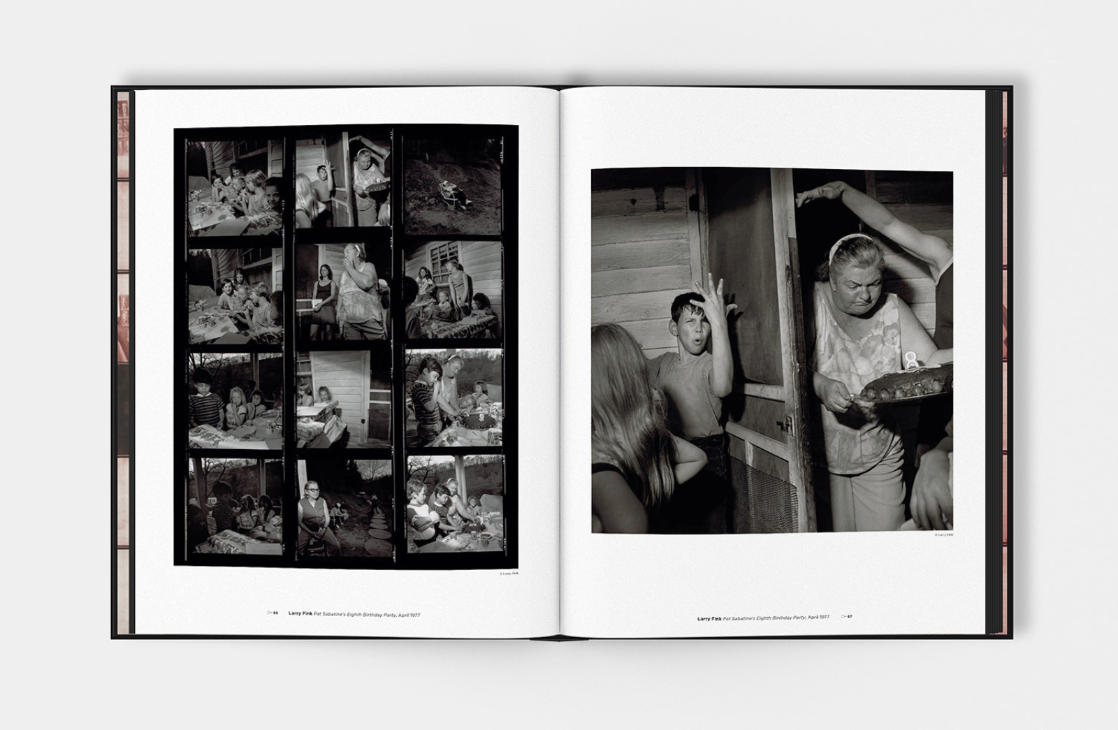 PROOF book design spread, showing a contact sheet and the chosen frame, photographed by Larry Fink