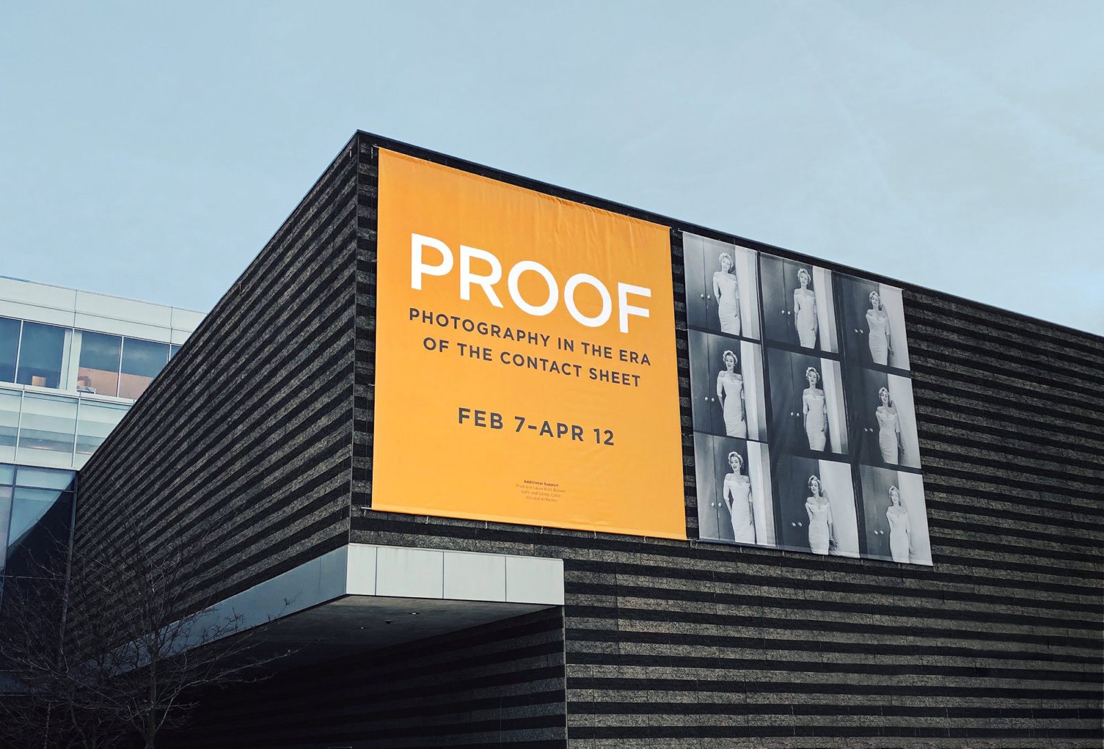 Brand design exhibition banner for PROOF: Photography in the Age of the Contact Sheet on the front of Cleveland Museum of Art