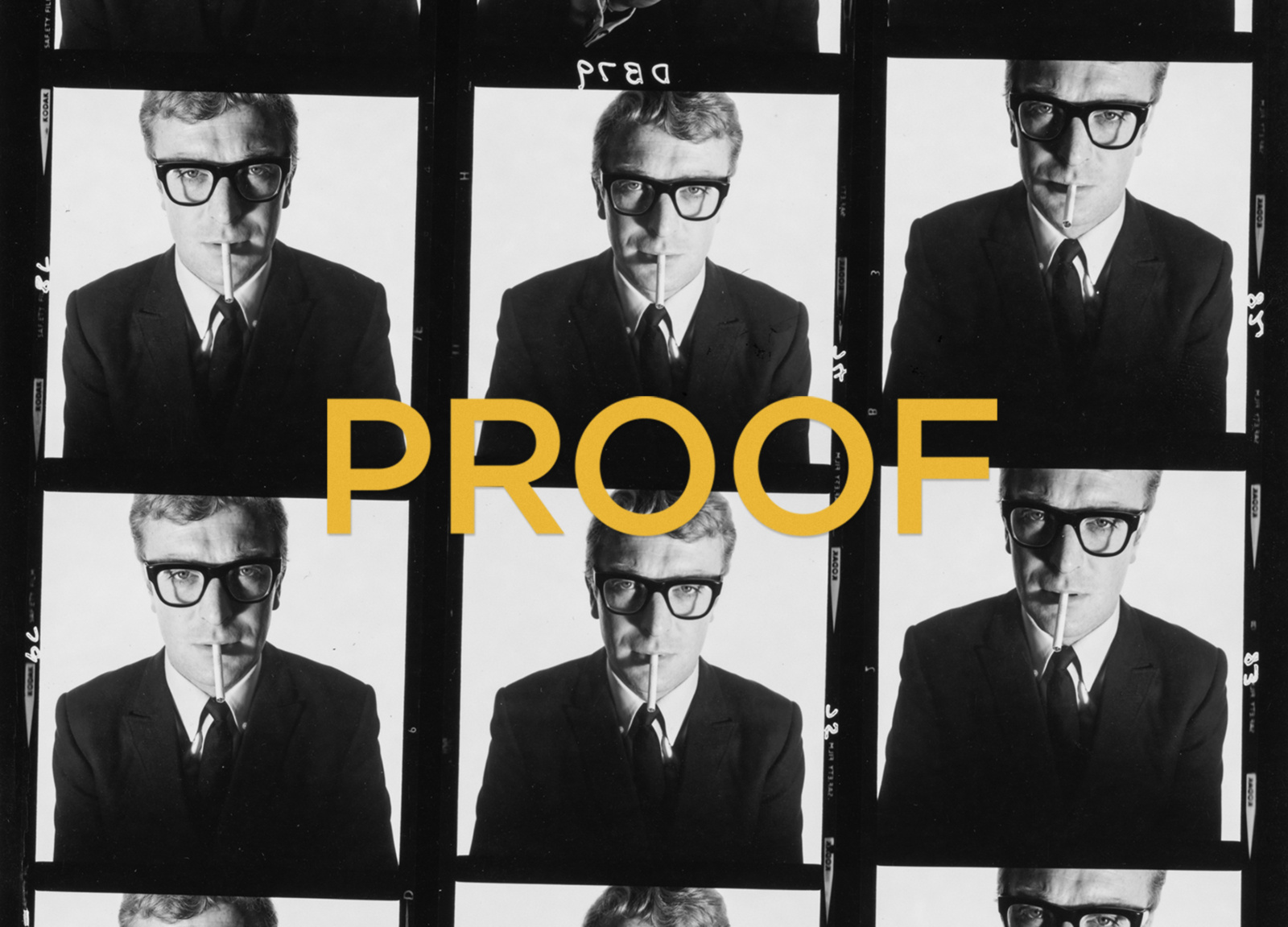 Detailed view of the PROOF book cover design, which features a Michael Caine contact sheet