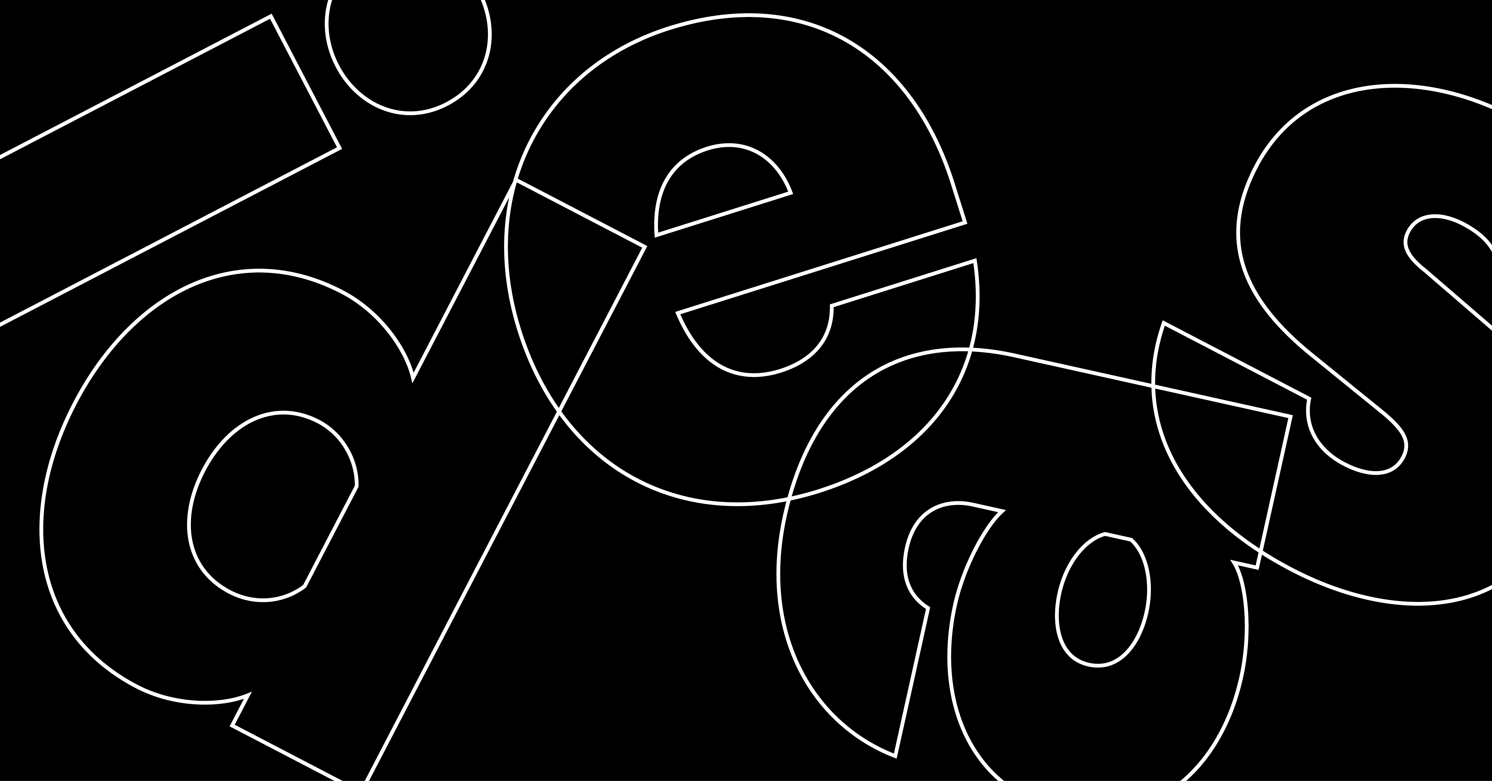 "Outline of letters, spelling ""ideas,"" an allusion to the tagline of the graphic design firm Nesnadny and Schwartz"