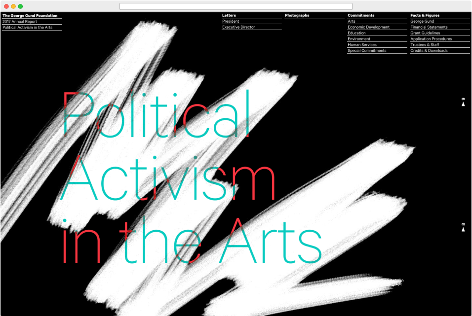 "Web browser view of The George Gund Foundation 2017 annual report design, titled ""Political Activism in the Arts"""